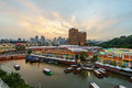 Phoenix Sunset over Clarke Quay Royalty Free Stock Photo