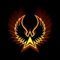 Phoenix symbol with strong light flares sign of flying spread wings and powerful flare greek mythology metaphor for reborn the sun Royalty Free Stock Photography