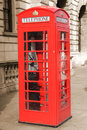 Phone booth british red in london background in sepia Stock Photography