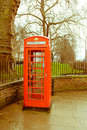 Phone booth image of a taken in london Stock Image