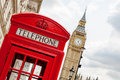 Phone booth london uk red telephone box near big ben england Royalty Free Stock Image