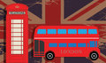 Phone booth and red bus on uk flag Royalty Free Stock Images