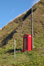 Phone booth red on pennan scotland Stock Image