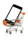 Phone buy smart in your shopping cart clipping pack Royalty Free Stock Image