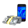 Phone and cash on white background Royalty Free Stock Photography