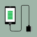 Phone charger full battery vector illustration Royalty Free Stock Photo