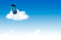 Phone on the cloud for cloud computing concept and business computer colud Royalty Free Stock Images