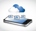 Phone and cloud computing computer network. Stock Images