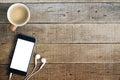 Phone And Coffee On Wood