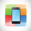 Phone and color blocks ready for customization illustration design over white Royalty Free Stock Images
