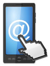 Phone cursor and email symbol on a white background Royalty Free Stock Images