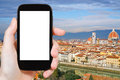 Phone with cut out screen and Florence skyline Royalty Free Stock Photo