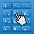 Phone dial pad pointer blue with digital hand Royalty Free Stock Images