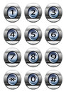 Phone dial pad silver buttons isolated on white Royalty Free Stock Photography
