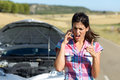 Phone discussion with insurance car service angry and desperate woman calling to assistance after accident upset woman on Royalty Free Stock Photos