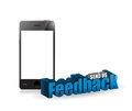 Phone feedback d blue sign illustration design over white Royalty Free Stock Photo