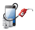 Phone with a gas pump nozzle illustration design over white background Stock Photography