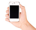 Phone in hand holding mobile smart with blank screen isolated on white Stock Photography