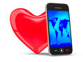 Phone and heart on white background d image Stock Images