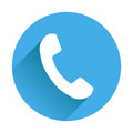 Phone icon in flat style. Vector illustration on round blue back