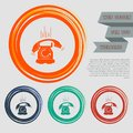 Phone Icon on the red, blue, green, orange buttons for your website and design with space text. Royalty Free Stock Photo