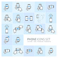 Phone icon se vector icons set with gestures and pictograms flat design infographic grey on blue background Stock Photo