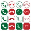 Phone icon set. Call application symbol collection. Green and red button. Flat interface sign. Simple shape old telephone logo. Royalty Free Stock Photo