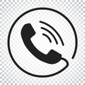 Phone icon vector, contact, support service sign on isolated background. Telephone, communication icon in flat style. Simple Royalty Free Stock Photo