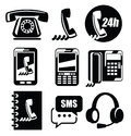 Phone icons vector black set on white Stock Photo