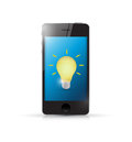 Phone with idea light bulb illustration design over white Stock Images