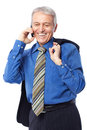On the phone image of a senior businessman talking cell and smiling isolated white Stock Photos