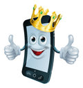 Phone man with crown illustration of a mascot wearing a gold and giving a double thumbs up Stock Photo