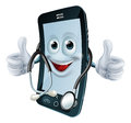 Phone man with a stethoscope cell round his neck giving thumbs up health app concept Stock Photography