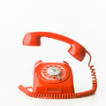 Phone ringing closeup of red vintage isolated on white background Stock Photo