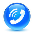 Phone ringing icon glassy cyan blue round button Royalty Free Stock Photo