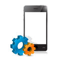 Phone and set of gears illustration design over white Stock Images