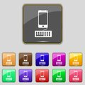 Phone sign icon support symbol call center set colourful buttons vector illustration Stock Image