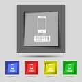 Phone sign icon support symbol call center set colourful buttons vector illustration Stock Images