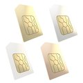 Phone sim card with golden circuit microchip isolated white gold silver bronze set of four Royalty Free Stock Images