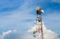 Phone tower very high and blue sky Royalty Free Stock Photos
