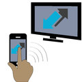 Phone tv a touchscreen smartphone conected to a Royalty Free Stock Images