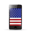 Phone with us flag illustration design over a white background Stock Photos
