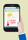 Phone weather minimalistic illustration of a smartphone with running application Stock Image