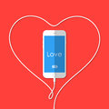 Phone, wire, heart, Valentine's Day Royalty Free Stock Photo