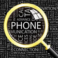 Phone word cloud illustration tag cloud concept collage Stock Image