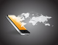 Phone and world map network illustration design over a grey background Stock Images