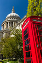 Phonebox at st pauls catherderal image of london england with a red phone box in the foreground Royalty Free Stock Images