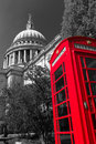 Phonebox at st pauls catherderal image of london england with a red phone box in the foreground Royalty Free Stock Image