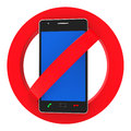 Phones banned indicates prohibit caution and safety representing forbidden disallow hazard Stock Photo