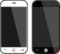 Phones realistic black and white mobile phone with blank screen isolated on white vector Royalty Free Stock Photography